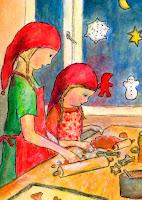 Postikorttikuvitus, missä kaksi tyttöä leipoo pipareita jouluksi. Postcard illustration of two girls baking ginger biscuits for Christmas.