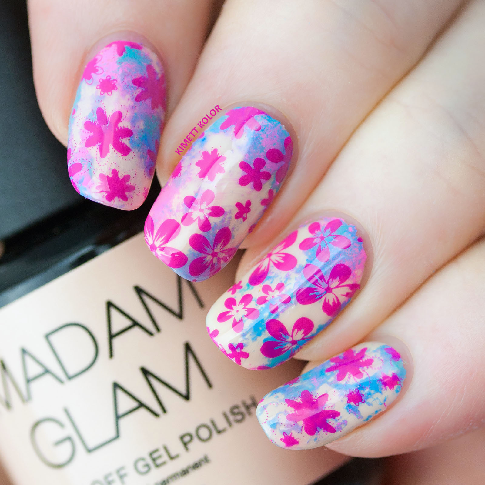 Kimett Kolor stamping nail art over Madam Glam cafe au lait