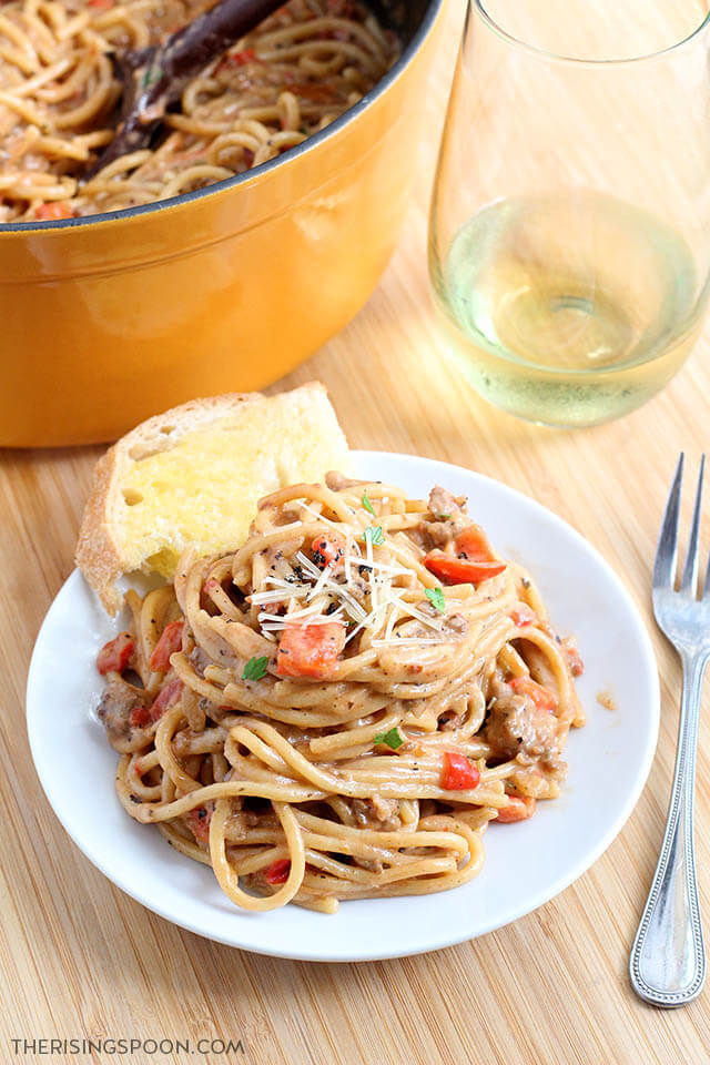Top 10 Most Popular Recipes On The Rising Spoon in 2020: Creamy One-Pot Spaghetti with Italian Sausage