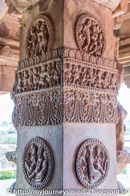 Aihole Durga Gudi Temple Ornate Pillars