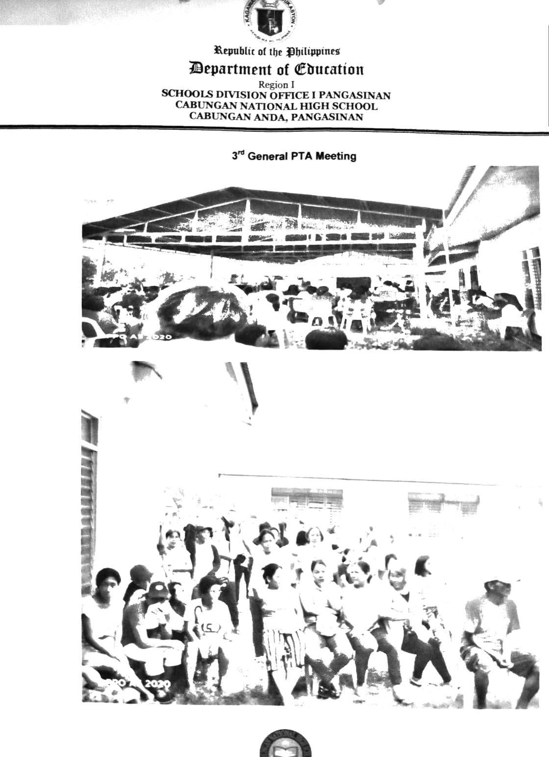 Cabungan National High School: MINUTES OF MEETING