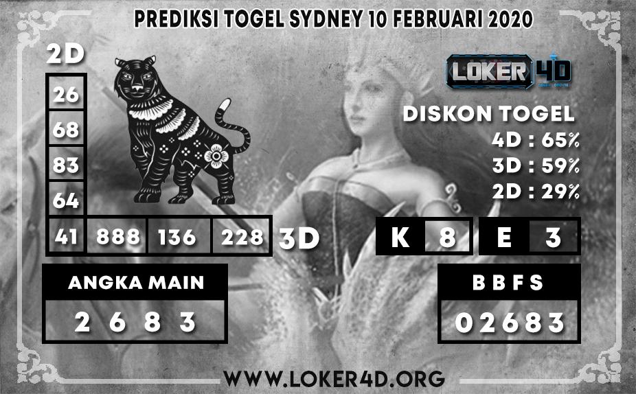 PREDIKSI TOGEL SYDNEY LOKER4D 10 FEBRUARI 2020