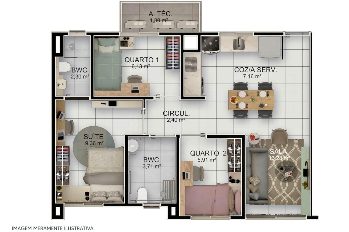 Apartamento 3 quartos no Residencial Tiradentes