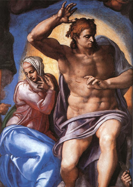 Christ and the Virgin Mary. Detail from Sistine Chapel, the Last Judgment by Michelangelo. Modesty breeches painted later as part of the Fig Leaf Campaign