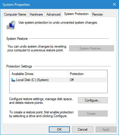 Windows10 System Protection.