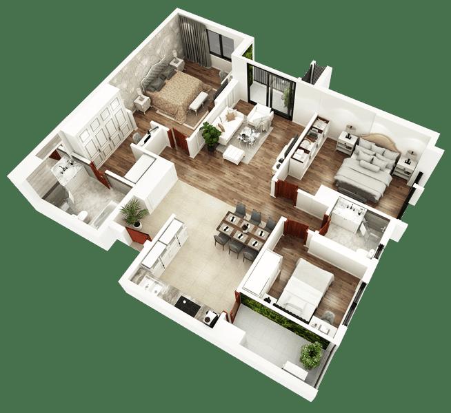 Mặt bằng 3D căn hộ 04 tòa Sapphire 2