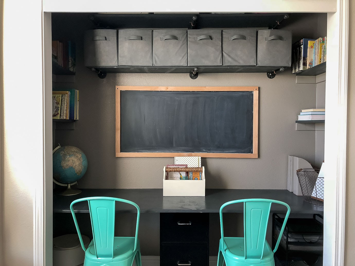 Small Space Office Closet Desk with Built In Book Shelves and Industrial Pipe Storage Shelves