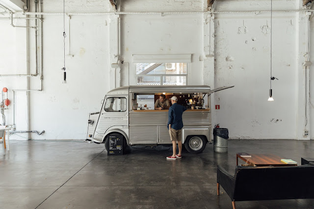 skye speciality coffee shop in barcelona, converted citroen van into coffee cart, at Espacio 88