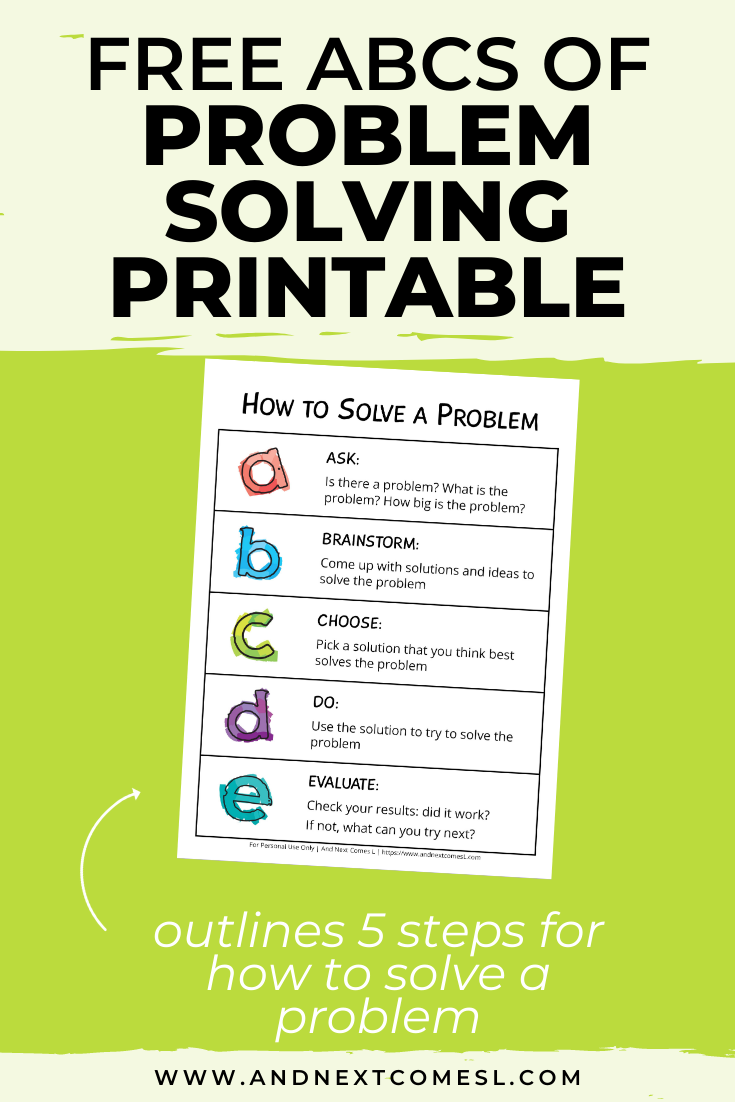 Teach kids and teens how to solve a problem using this free ABCs of problem solving steps printable