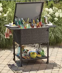 Wicker Cooler Cart, Wicker Patio Coolers, Wicker Coolers, Outdoor Patio Accessories, Wicker Patio Accessories, Outdoor Furniture, Wicker Outdoor Furniture, Wicker-Look Portable Resin Cooler With Storage Drawer