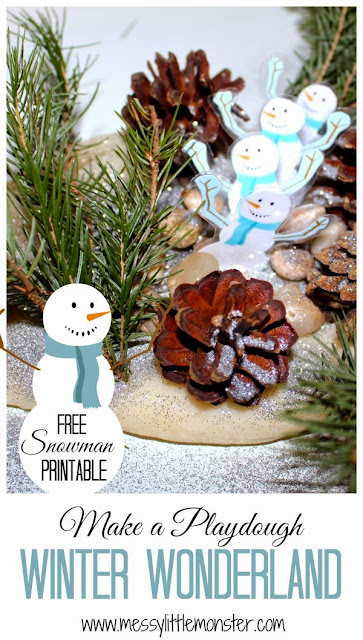 Make a playdough winter wonderland small world.  FREE SNOWMAN PRINTABLE, sensory invitation to play for toddlers, preschoolers, early years, eyfs, kids