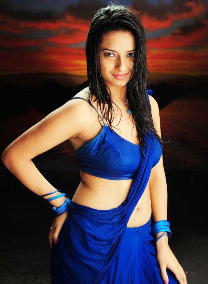 Isha Chawla Hot In Wet Saree Stills