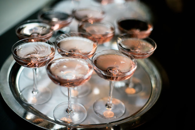 Glasses of Rose for La Nuit en Rose