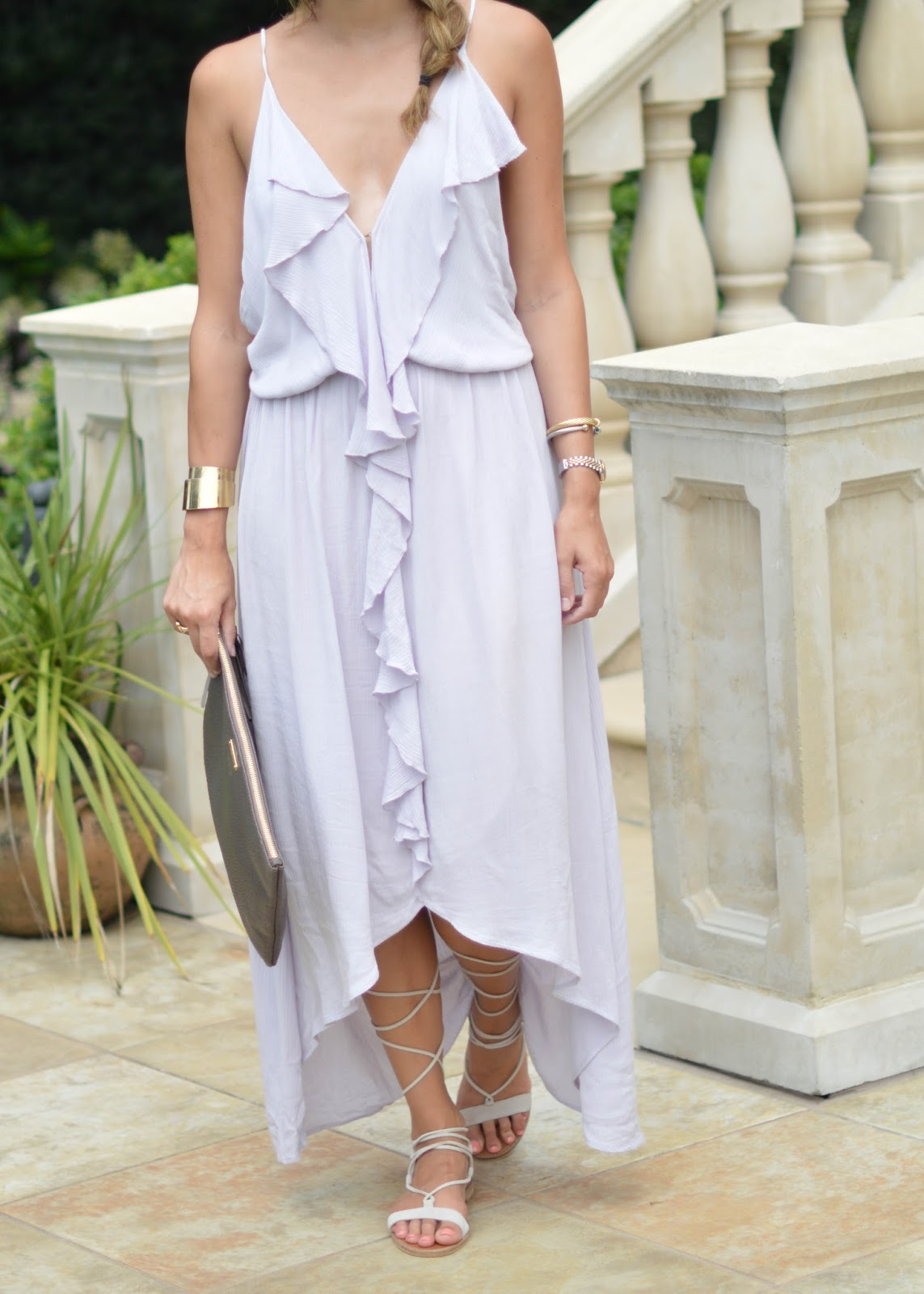 flowy purple dress / Southern Style / lace up sandals / resort wear