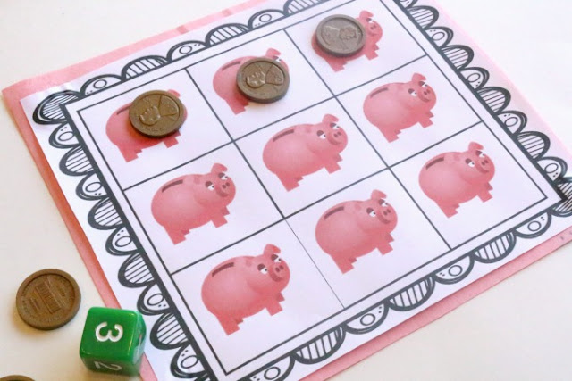 Printable Toy Money : Counting coins preschool grid game printable ways to play
