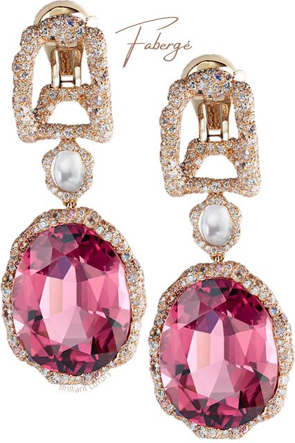 Fabergé Katharina 18k gold diamond moonstone & pink tourmaline drop earrings #brilliantluxury