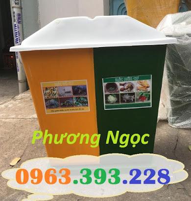 Thùng rác nhựa composite, thùng rác 2 ngăn, thùng phân loại rác TR2N6