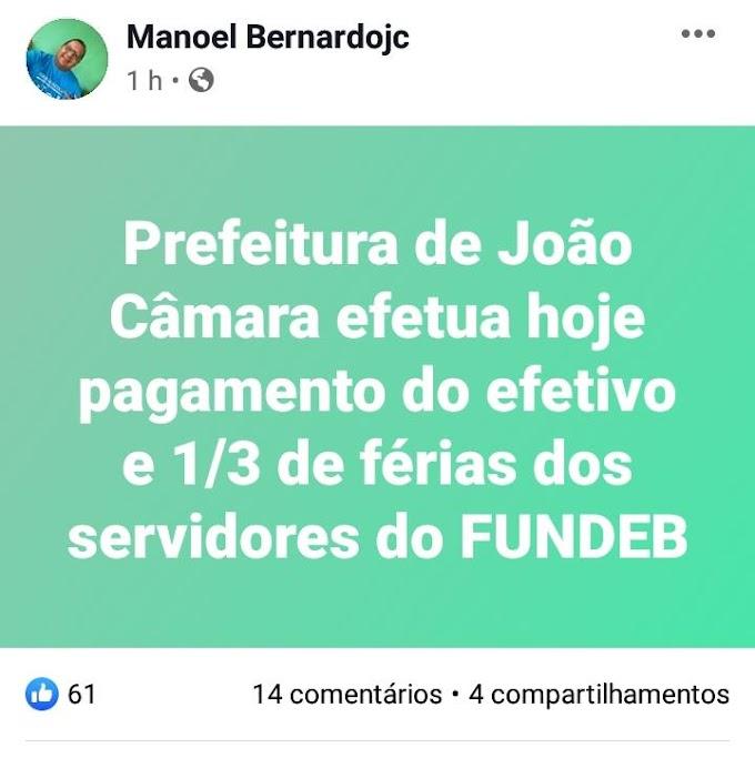 Prefeito de João Câmara anuncia pagamento dos Servidores Efetivos com terço de férias