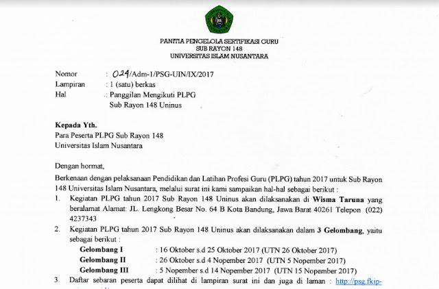 Surat Panggilan dan Daftar Peserta PLPG Tahun 2017 Sub Rayon 148 UNINUS