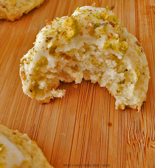 this is a half eaten pistachio ricotta cookie