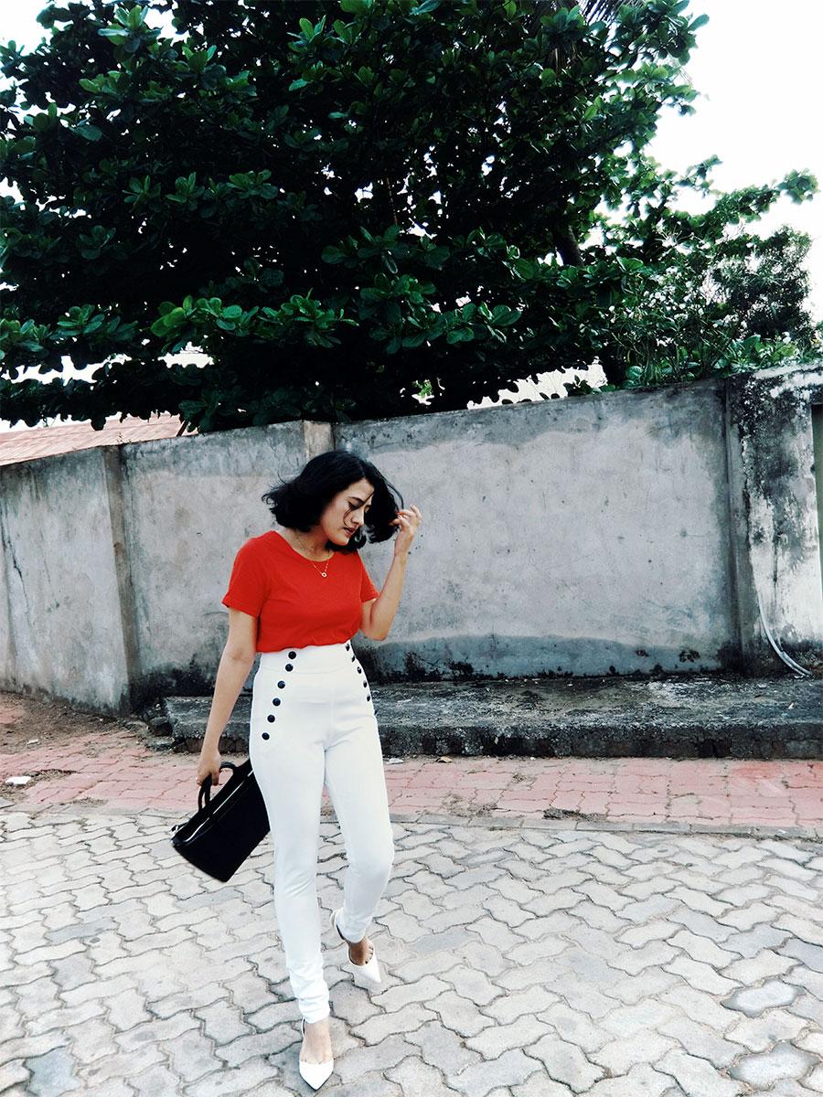 Tommy x Gigi Hadid snow white sailortrouser, nextredtop,whitezaraheel,zaracityblackbag,indianstyleblog