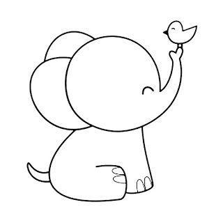 Tranh tô màu con voi cho bé 8