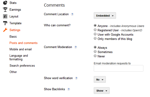 Posts and Comments Settings