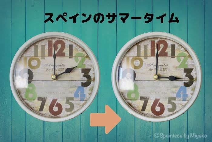 スペインのサマータイムの時刻合わせをする2つの時計