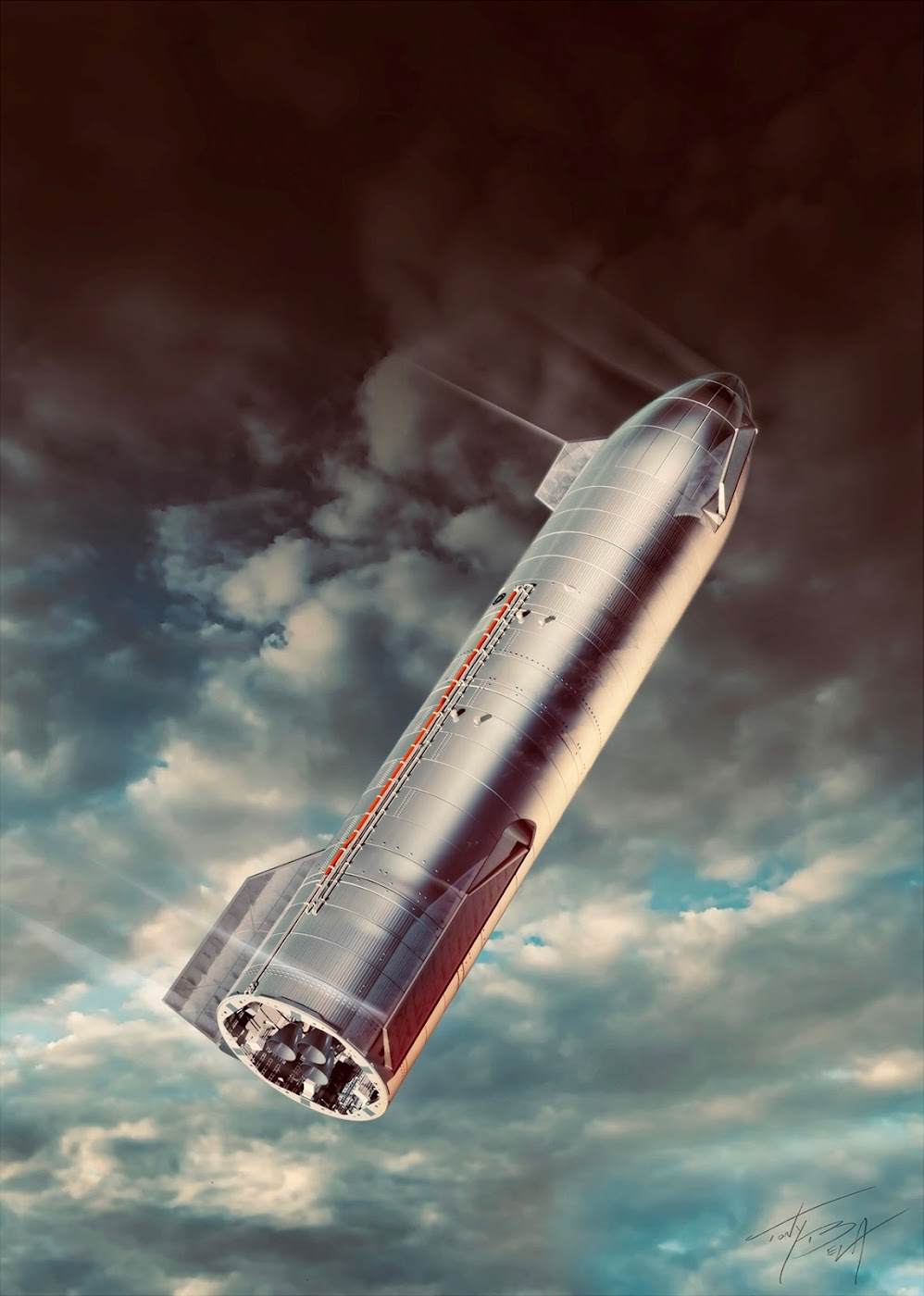 Poster of SpaceX's Starship SN8 belly flop maneuver by Tony Bela