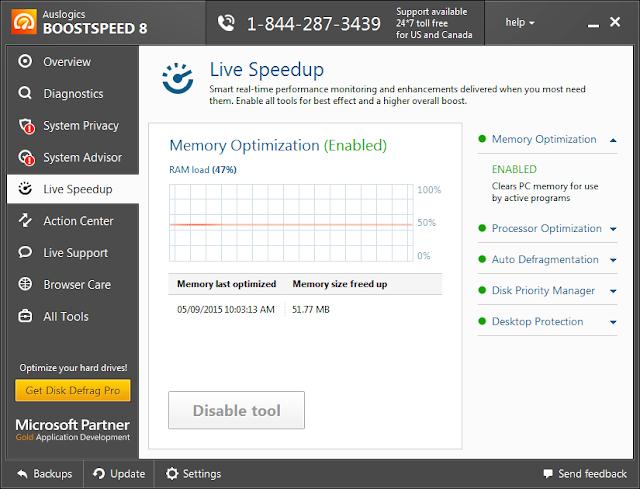 Live Speedup GUI - Auslogics Boost Speed 8