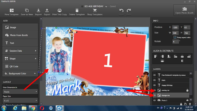 Free Photobooth template for kids Birthday (Ice-Age)
