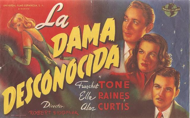 Programa de Cine - La Dama Desconocida - Franchot Tone - Ella Raines