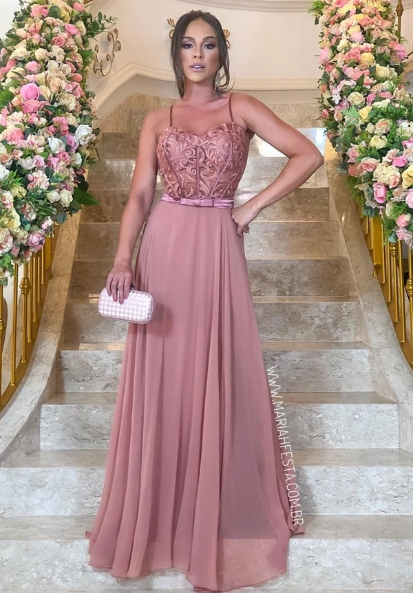 vestido longo rose queimado para madrinha de casamento