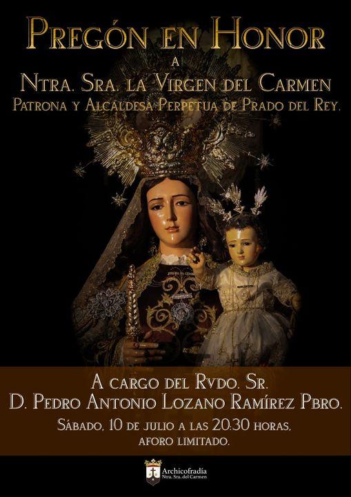 Cartel anunciador del pregon en Honor a La Virgen del Carmen de Prado del Rey 2021