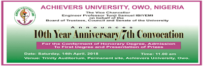 Achievers University 10th Year Anniversary/7th Convocation Date Out