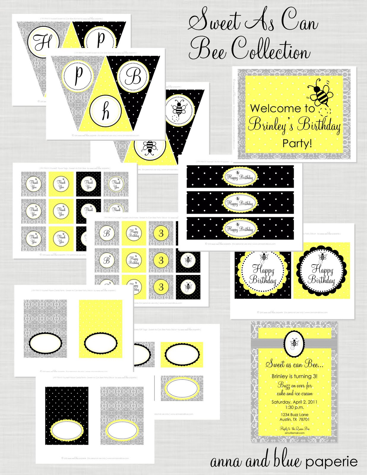 Anna And Blue Paperie New To The Shop Sweet As Can Bee Printable Collection