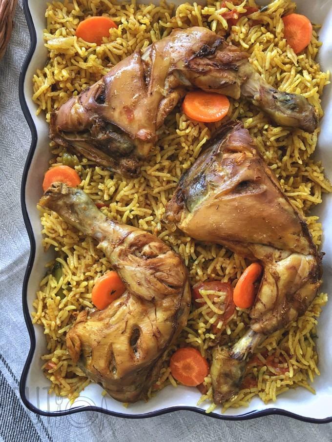 Chicken Machboos using Basmati Rice