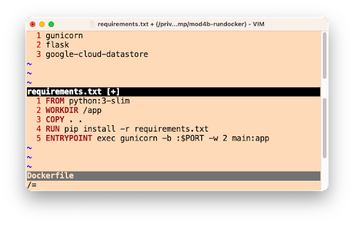 Image of The Python 3 requirements.txt and Dockerfile