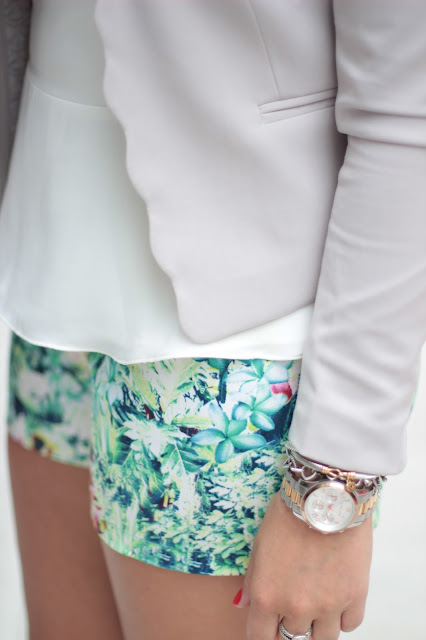 h&m scallop jacket, michael kors watch, floral shorts
