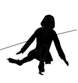 silhouette of a young girl ice skating