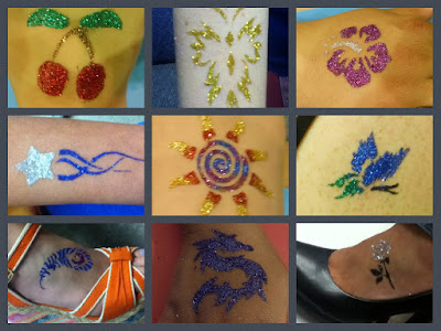 Glamorous glitter tattoos by Fancy Faces of Rochester