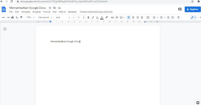 Tampilan mengetik google docs