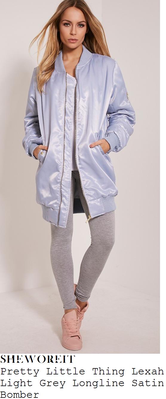 lauren-pope-pretty-little-thing-lexah-light-grey-blue-longline-satin-bomber-jacket