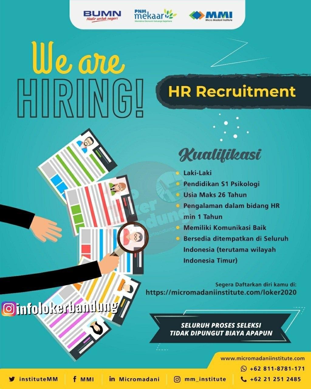 Lowongan Kerja HR Recruitment Micromadani Institute Bandung Maret 2020