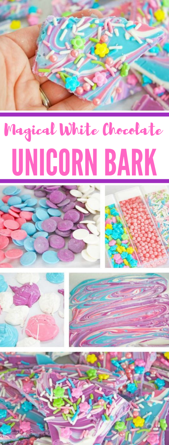 The Best White Chocolate Unicorn Bark #desserts #cookie #snack #chocolate #cakes