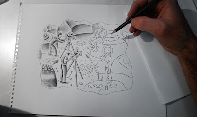 pencil vs camera sketch drawing by ben heine