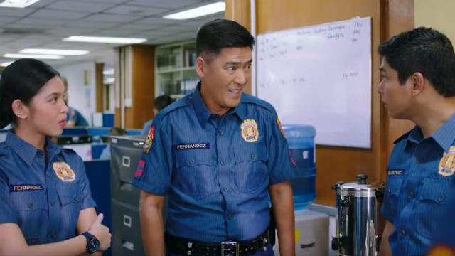 Maine Mendoza as Em, Vic Sotto as Popoy and Coco Martin as Jack in 'Jack Em Popoy