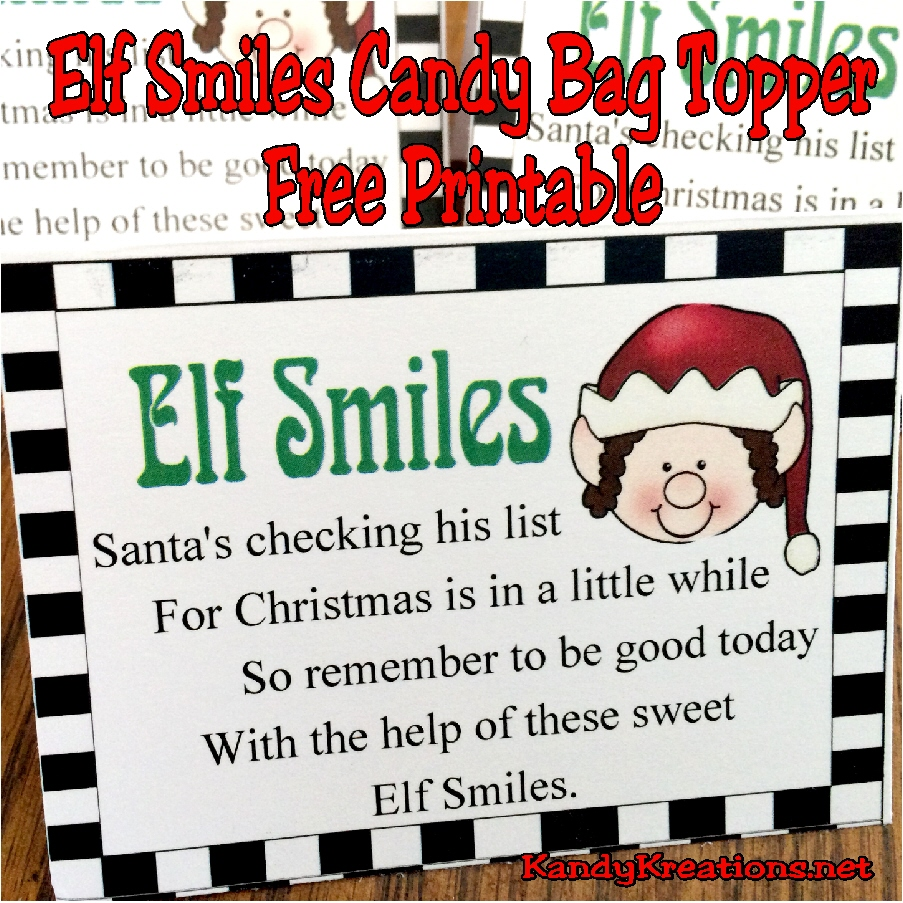 Diy Party Mom Elf Smiles Candy Bag Topper Printable