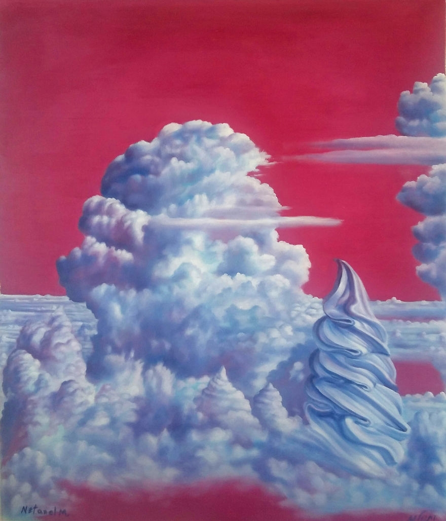 12-Ice-Cream-Clouds-Netanel Morhan-Artist-Depicts-Surreal-Dreams-and-Nightmares-with-Paintings-www-designstack-co