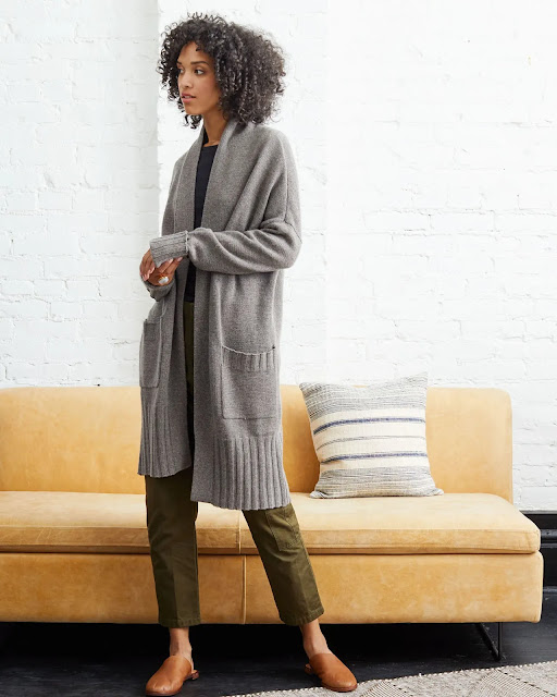 Woman wearing Marlowe Cashmere Cardigan from Not Monday Mercantile